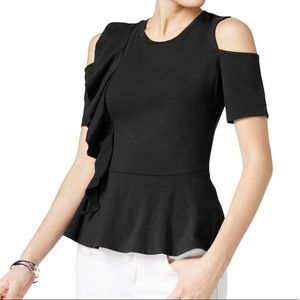 GUESS RUFFLED COLD SHOULDER TOP| BLACK | SIZE M